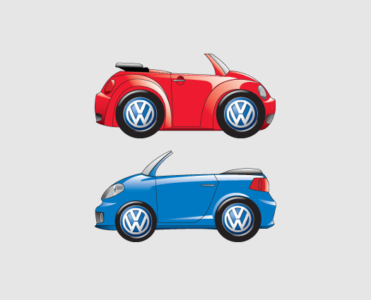 Hark Design illustrated VW car characters